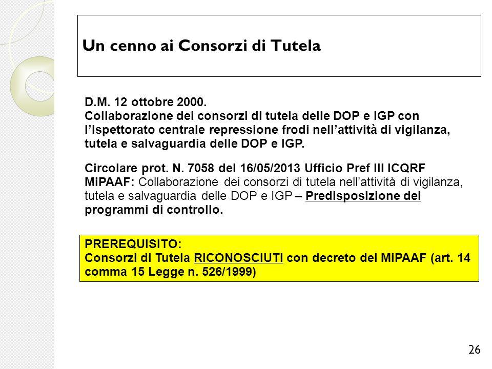 Un cenno ai Consorzi di Tutela 26 D.M. 12 ottobre 2000. Collaborazione dei consorzi di tutela delle DOP e IGP con l'Ispettorato centrale repressione f