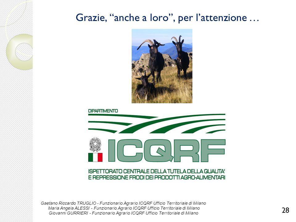 """Grazie, """"anche a loro"""", per l'attenzione … 28 Gaetano Riccardo TRUGLIO - Funzionario Agrario ICQRF Ufficio Territoriale di Milano Maria Angela ALESSI"""