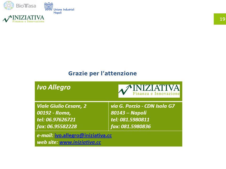 19 Grazie per l'attenzione Ivo Allegro Viale Giulio Cesare, 2 00192 - Roma, tel: 06.97626721 fax: 06.95582228 via G. Porzio - CDN Isola G7 80143 – Nap