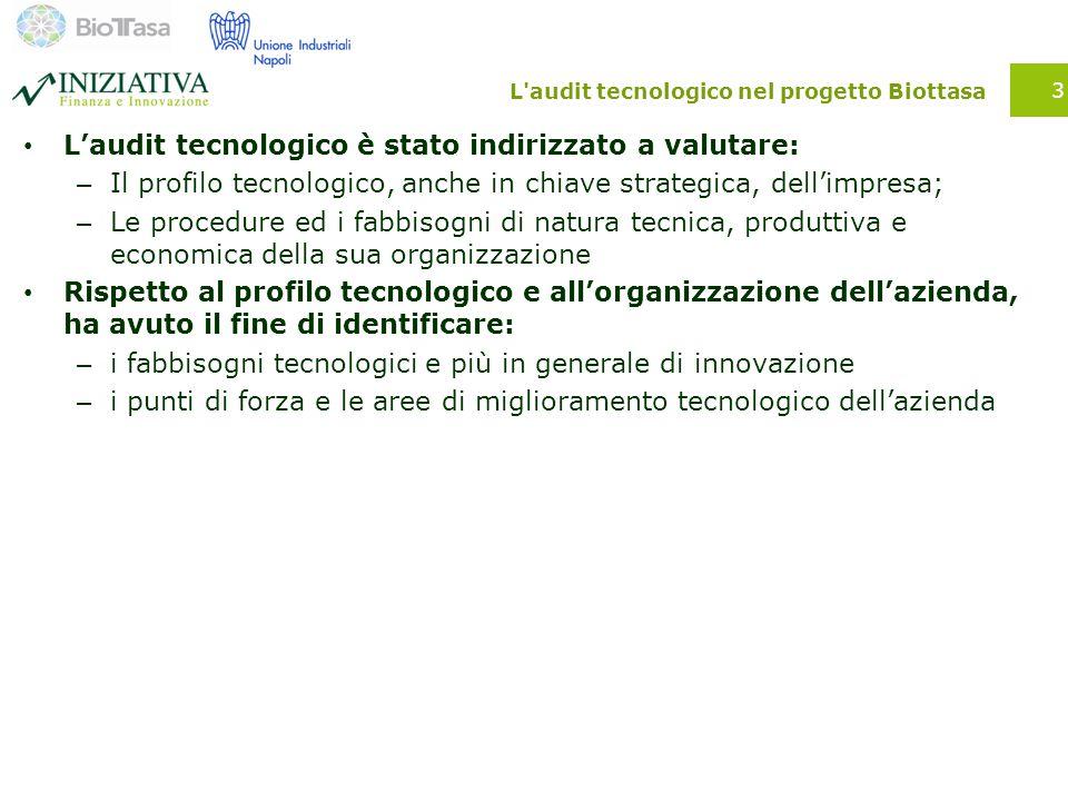 L'audit tecnologico nel progetto Biottasa L'audit tecnologico è stato indirizzato a valutare: – Il profilo tecnologico, anche in chiave strategica, de