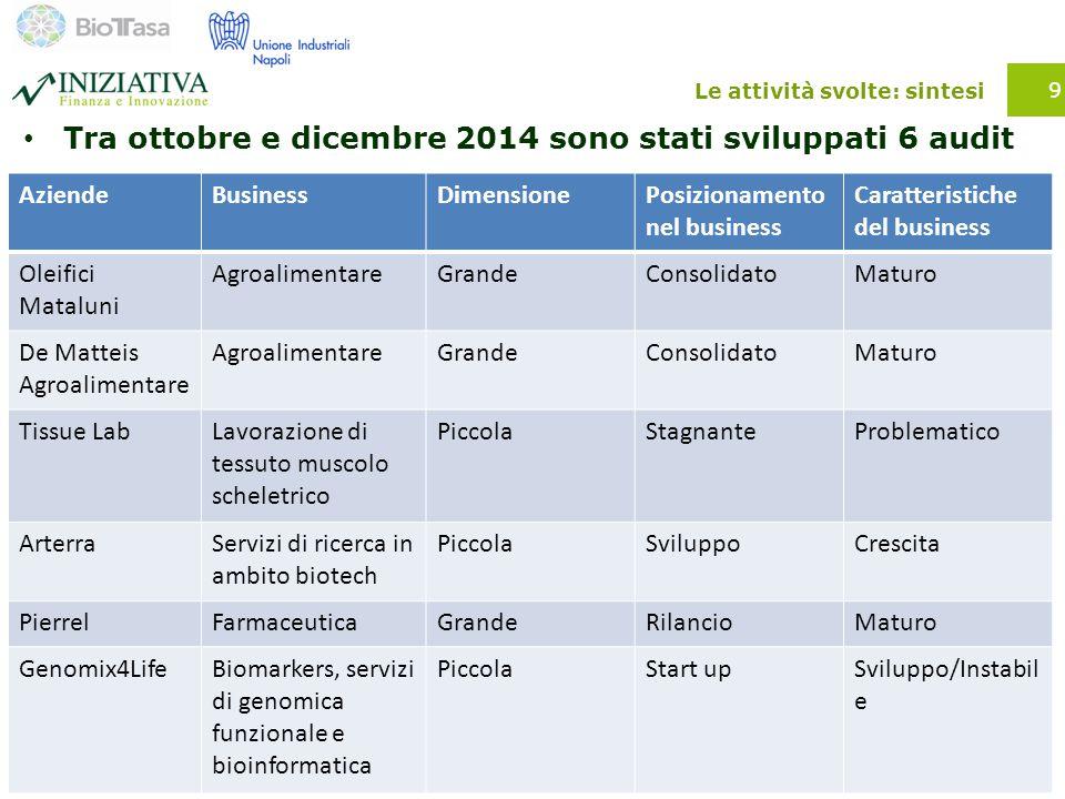 Le attività svolte: sintesi Tra ottobre e dicembre 2014 sono stati sviluppati 6 audit 9 AziendeBusinessDimensionePosizionamento nel business Caratteri