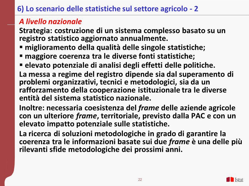 22 A livello nazionale Strategia: costruzione di un sistema complesso basato su un registro statistico aggiornato annualmente.