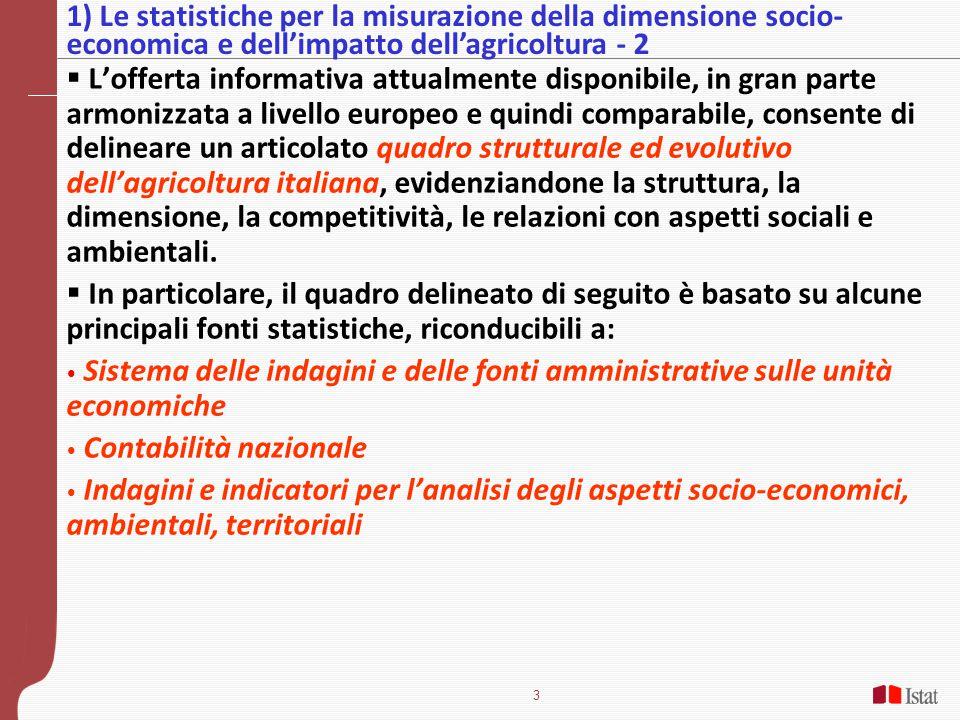 3  L'offerta informativa attualmente disponibile, in gran parte armonizzata a livello europeo e quindi comparabile, consente di delineare un articolato quadro strutturale ed evolutivo dell'agricoltura italiana, evidenziandone la struttura, la dimensione, la competitività, le relazioni con aspetti sociali e ambientali.