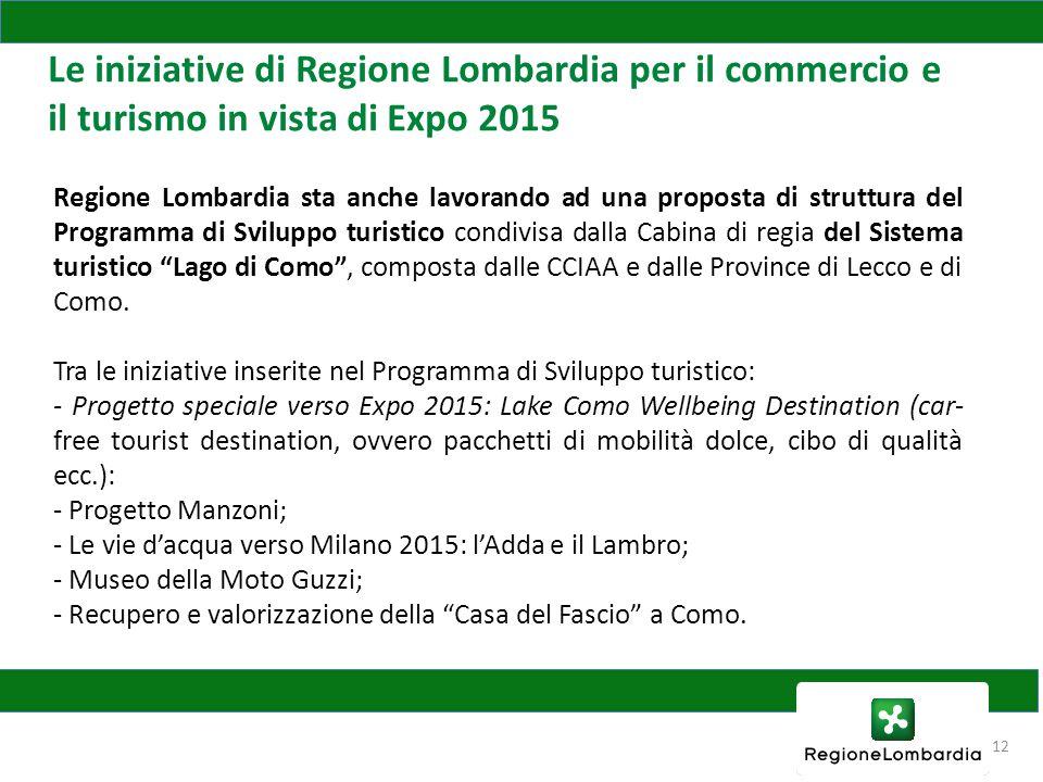 12 Le iniziative di Regione Lombardia per il commercio e il turismo in vista di Expo 2015 Regione Lombardia sta anche lavorando ad una proposta di struttura del Programma di Sviluppo turistico condivisa dalla Cabina di regia del Sistema turistico Lago di Como , composta dalle CCIAA e dalle Province di Lecco e di Como.