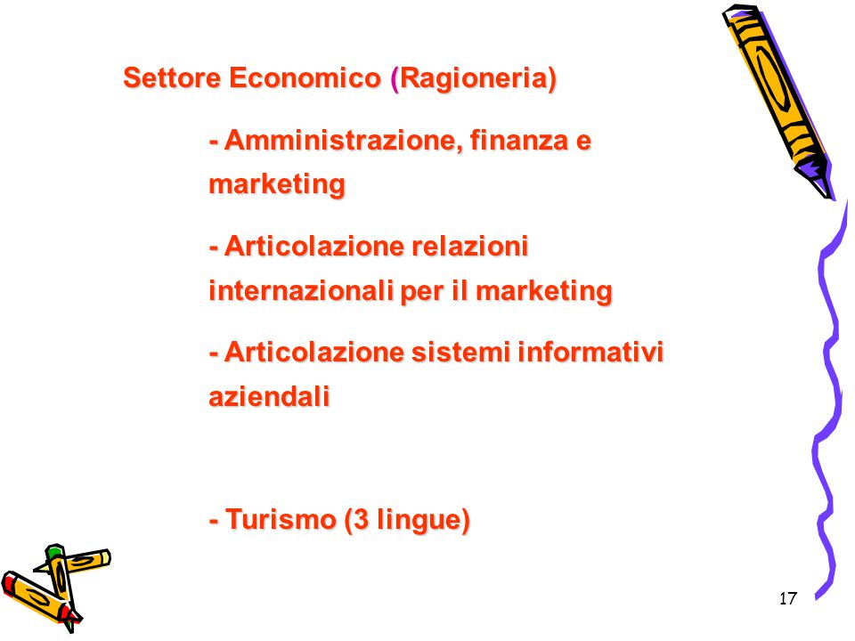 17 Settore Economico (Ragioneria) - Amministrazione, finanza e marketing - Articolazione relazioni internazionali per il marketing - Articolazione sis