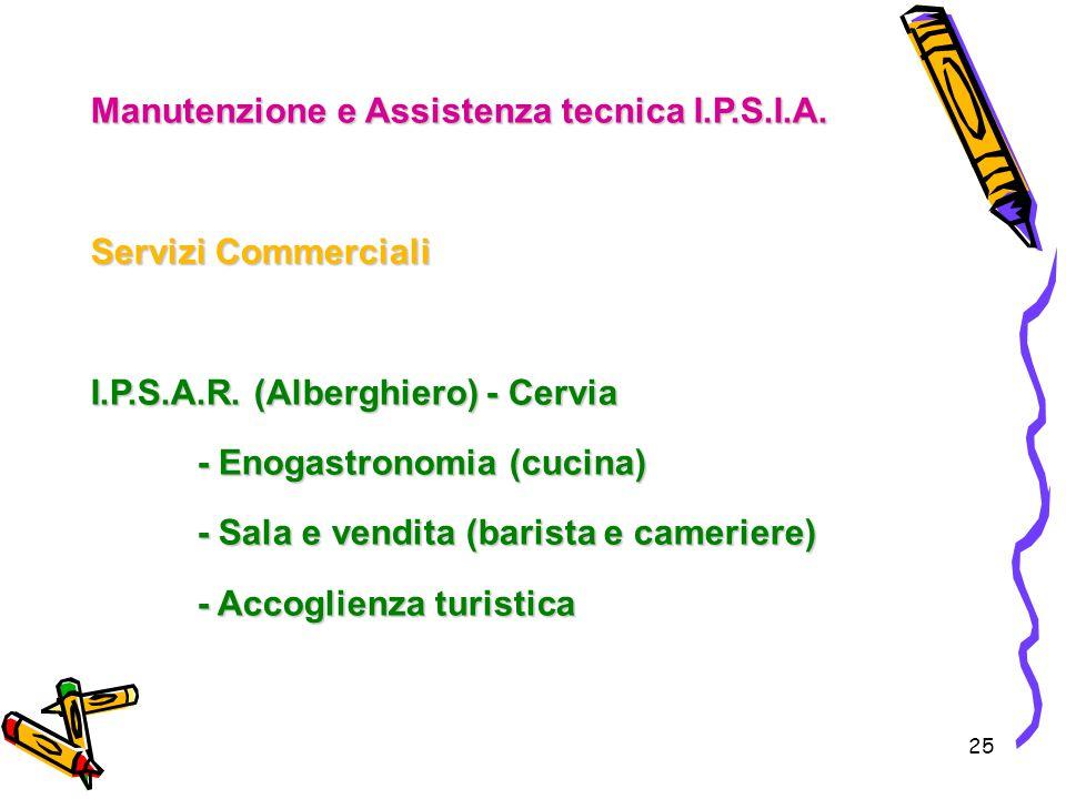 25 Manutenzione e Assistenza tecnica I.P.S.I.A. Servizi Commerciali I.P.S.A.R. (Alberghiero) - Cervia - Enogastronomia (cucina) - Sala e vendita (bari