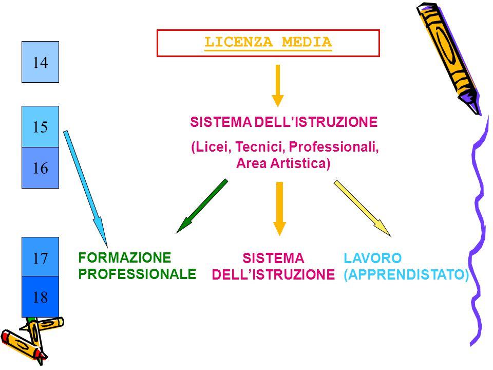 SISTEMA DELL'ISTRUZIONE (Licei, Tecnici, Professionali, Area Artistica) SISTEMA DELL'ISTRUZIONE LICENZA MEDIA 14 15 16 17 18 FORMAZIONE PROFESSIONALE