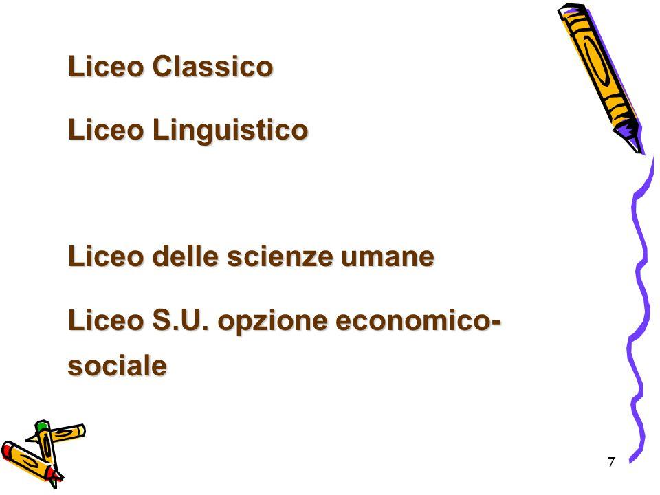 7 Liceo Classico Liceo Linguistico Liceo delle scienze umane Liceo S.U. opzione economico- sociale