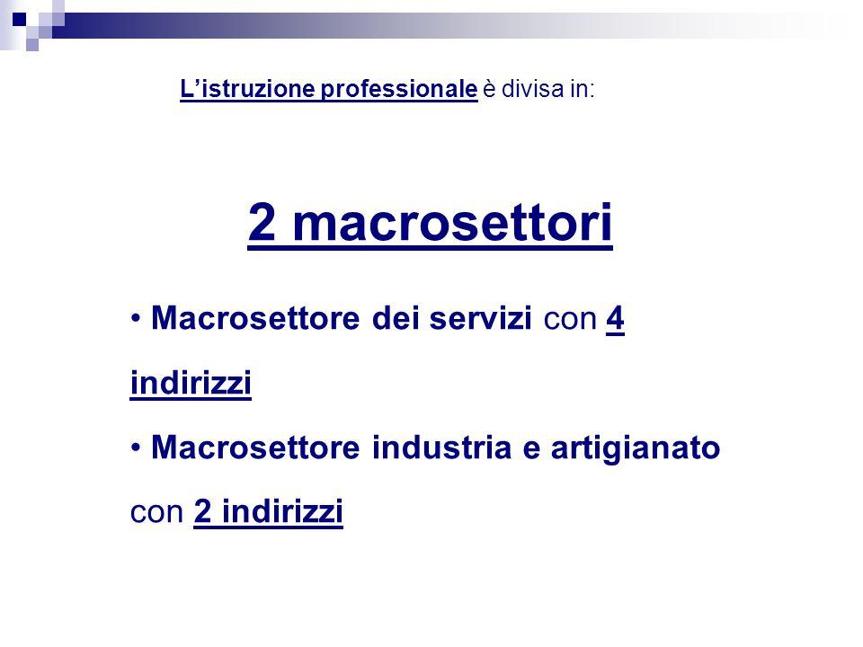 L'istruzione professionale è divisa in: 2 macrosettori Macrosettore dei servizi con 4 indirizzi Macrosettore industria e artigianato con 2 indirizzi