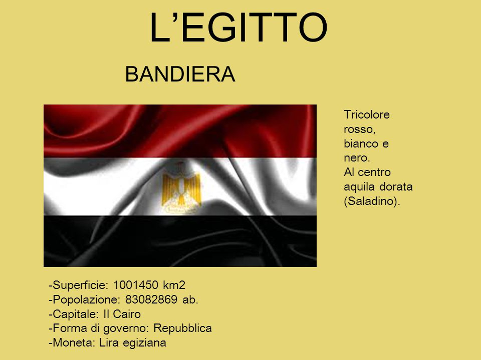 L'EGITTO Tricolore rosso, bianco e nero. Al centro aquila dorata (Saladino). BANDIERA -Superficie: 1001450 km2 -Popolazione: 83082869 ab. -Capitale: I