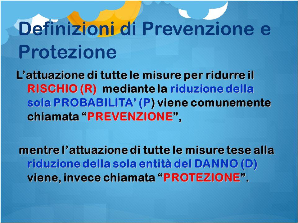 Definizioni di Prevenzione e Protezione L'attuazione di tutte le misure per ridurre il RISCHIO (R) mediante la riduzione della sola PROBABILITA' (P) v