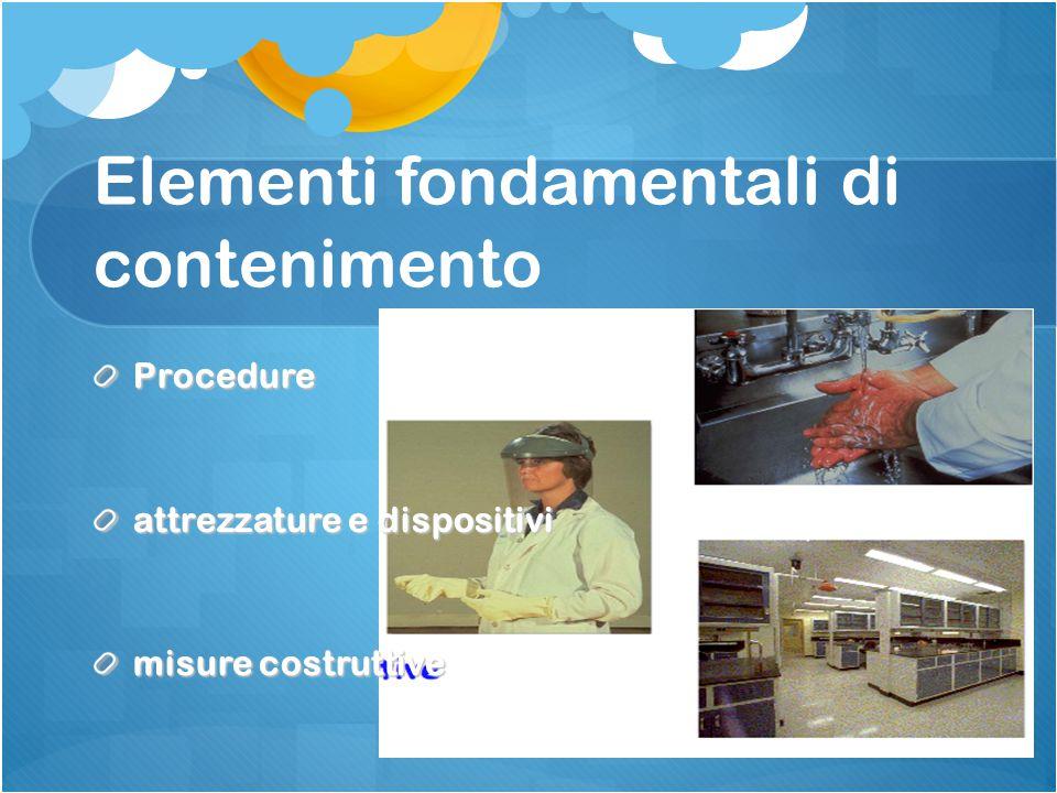 Elementi fondamentali di contenimento Procedure attrezzature e dispositivi misure costruttive