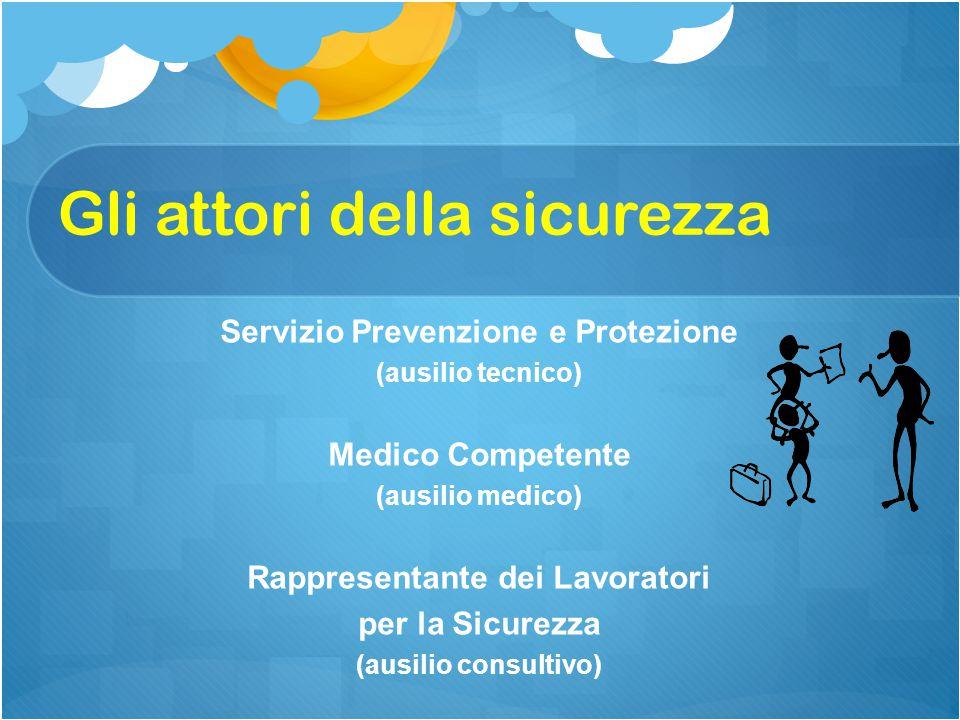 Servizio Prevenzione e Protezione (ausilio tecnico) Medico Competente (ausilio medico) Rappresentante dei Lavoratori per la Sicurezza (ausilio consultivo) Gli attori della sicurezza