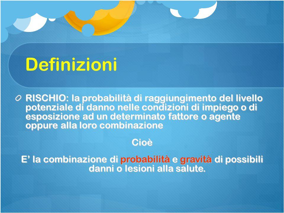 Definizioni RISCHIO: la probabilità di raggiungimento del livello potenziale di danno nelle condizioni di impiego o di esposizione ad un determinato f