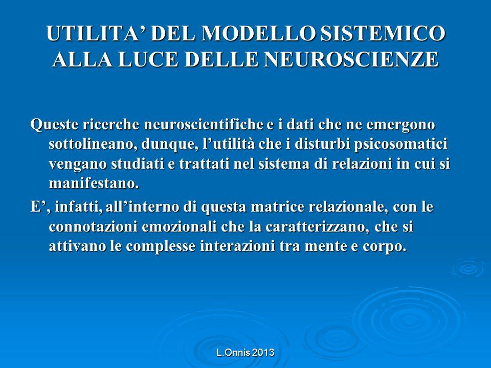 UTILITA' DEL MODELLO SISTEMICO ALLA LUCE DELLE NEUROSCIENZE Queste ricerche neuroscientifiche e i dati che ne emergono sottolineano, dunque, l'utilità