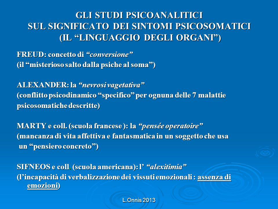 """L.Onnis 2013 GLI STUDI PSICOANALITICI SUL SIGNIFICATO DEI SINTOMI PSICOSOMATICI (IL """"LINGUAGGIO DEGLI ORGANI"""") FREUD: concetto di """"conversione"""" (il """"m"""