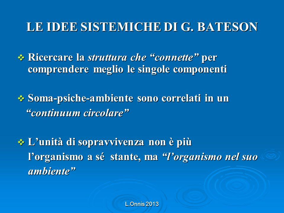 """L.Onnis 2013 LE IDEE SISTEMICHE DI G. BATESON  Ricercare la struttura che """"connette"""" per comprendere meglio le singole componenti  Soma-psiche-ambie"""