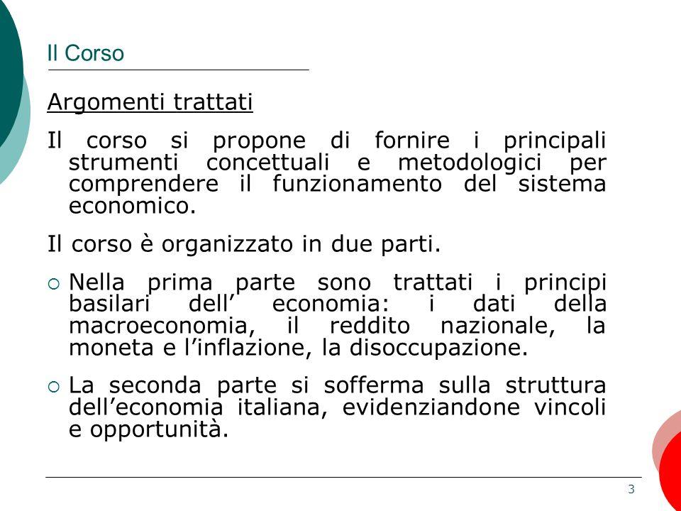 4 Il Corso Argomenti trattati: Prima parte: i fondamenti  L economia come scienza  Come leggere e capire i diagrammi  I dati della macroeconomia  Moneta e Inflazione  Disoccupazione Riferimento: Mankiw N.
