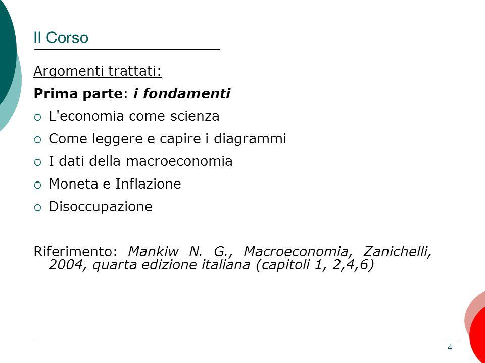 5 Il Corso Argomenti trattati Seconda parte L'economia italiana  Il PIL come misura della dimensione dell economia  Le molte dimensioni del benessere: disoccupazione, inflazione, distribuzione del benessere, indicatori degli standard di vita  La struttura dell'economia italiana L.