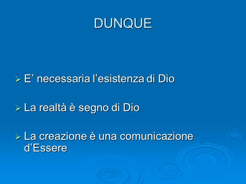 DUNQUE  E' necessaria l'esistenza di Dio  La realtà è segno di Dio  La creazione è una comunicazione d'Essere