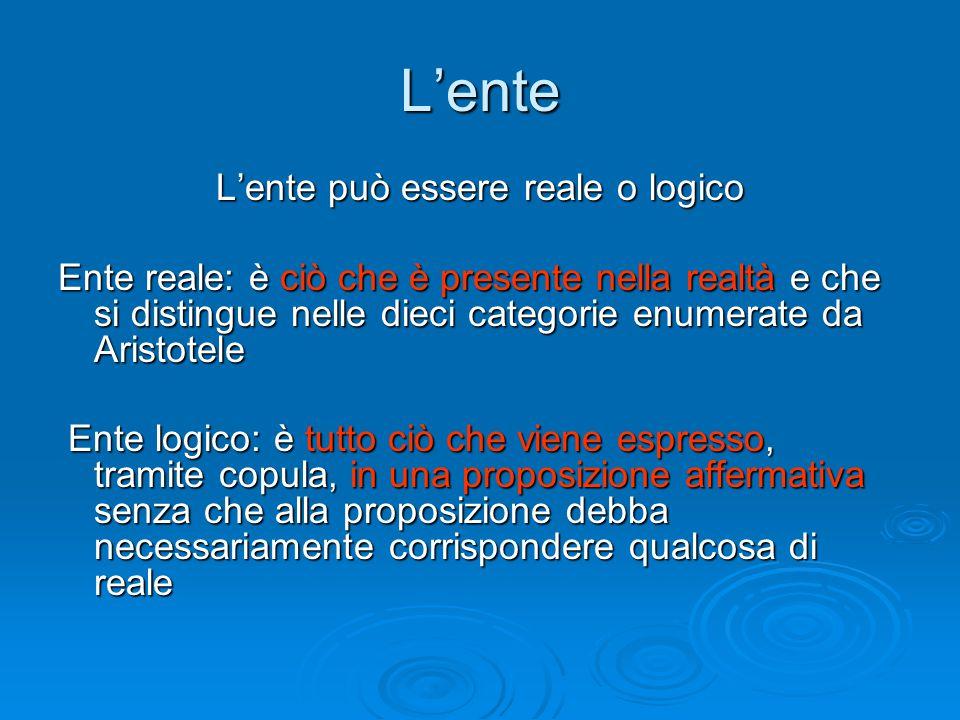 L'ente L'ente può essere reale o logico Ente reale: è ciò che è presente nella realtà e che si distingue nelle dieci categorie enumerate da Aristotele