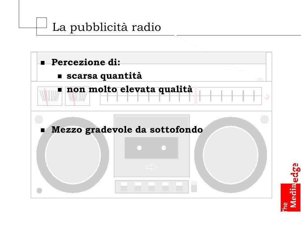 La pubblicità radio n Percezione di: n scarsa quantità n non molto elevata qualità n Mezzo gradevole da sottofondo