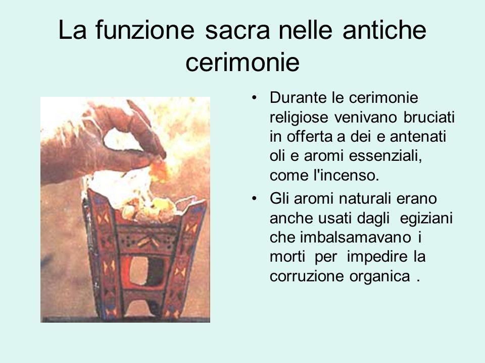 La funzione sacra nelle antiche cerimonie Durante le cerimonie religiose venivano bruciati in offerta a dei e antenati oli e aromi essenziali, come l incenso.