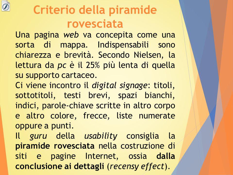 Criterio della piramide rovesciata Una pagina web va concepita come una sorta di mappa. Indispensabili sono chiarezza e brevità. Secondo Nielsen, la l