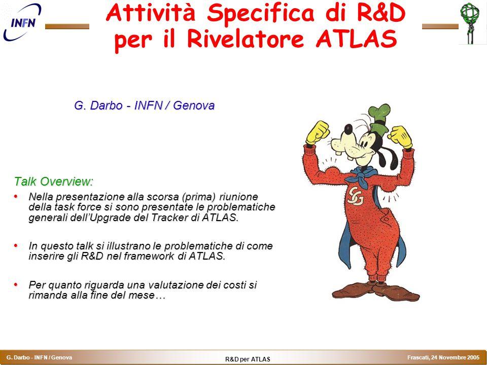 R&D per ATLAS G. Darbo - INFN / Genova Frascati, 24 Novembre 2005 Attivit à Specifica di R&D per il Rivelatore ATLAS G. Darbo - INFN / Genova Talk Ove
