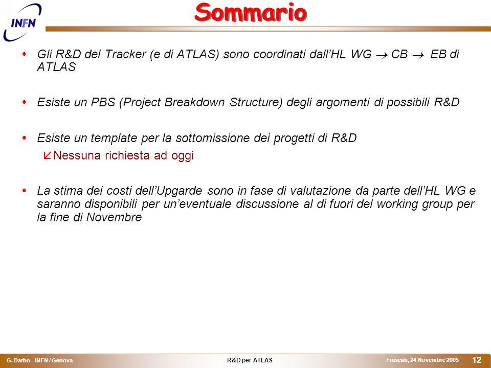 R&D per ATLAS G. Darbo - INFN / Genova Frascati, 24 Novembre 2005 12 Sommario  Gli R&D del Tracker (e di ATLAS) sono coordinati dall'HL WG  CB  EB