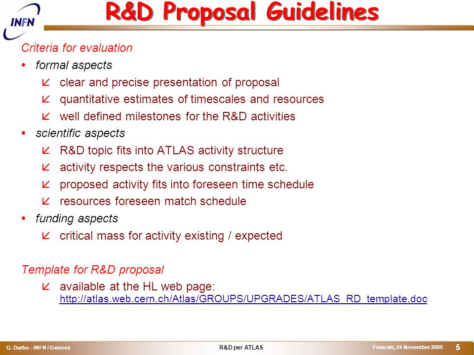 R&D per ATLAS G.