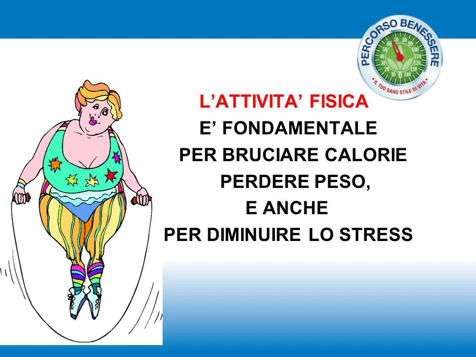 L'ATTIVITA' FISICA E' FONDAMENTALE PER BRUCIARE CALORIE PERDERE PESO, E ANCHE PER DIMINUIRE LO STRESS