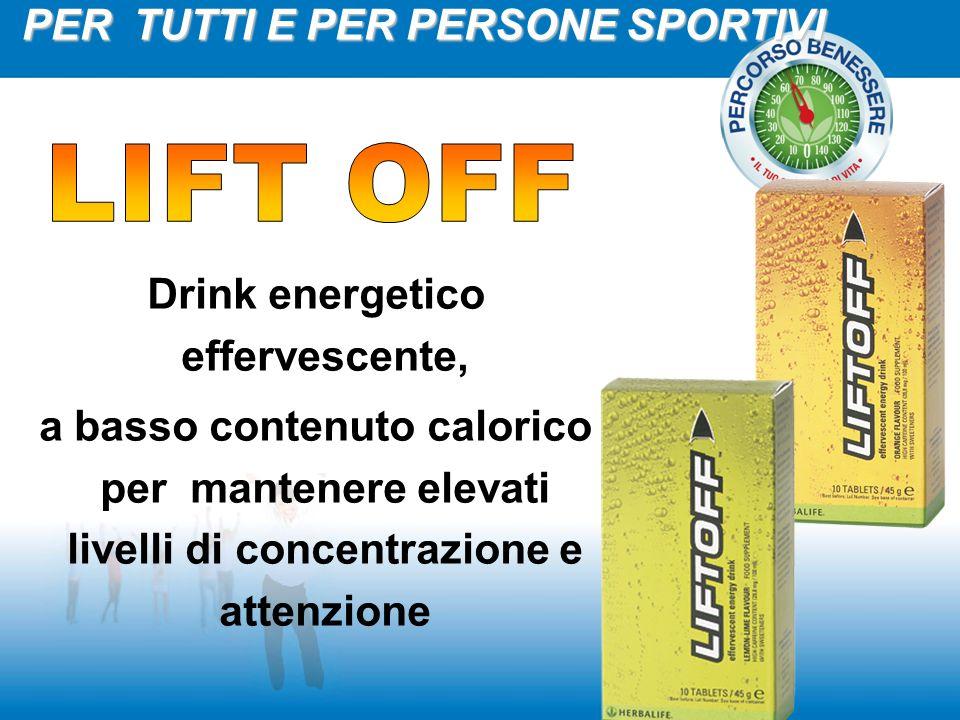 Drink energetico effervescente, a basso contenuto calorico per mantenere elevati livelli di concentrazione e attenzione PER TUTTI E PER PERSONE SPORTI