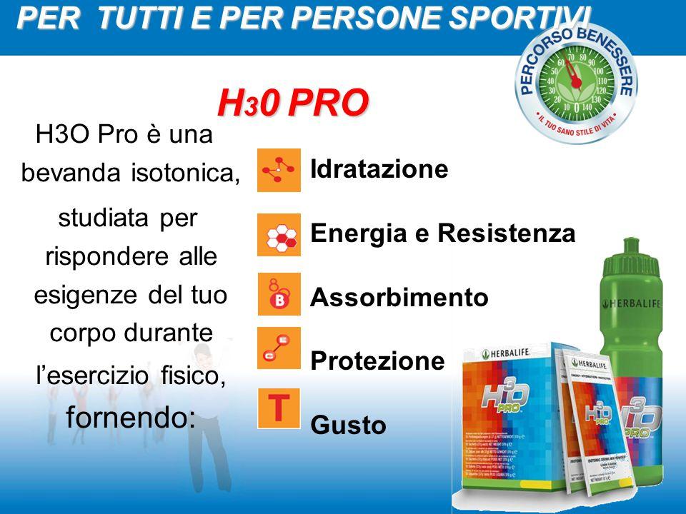 H3O Pro è una bevanda isotonica, studiata per rispondere alle esigenze del tuo corpo durante l'esercizio fisico, fornendo: Idratazione Energia e Resis
