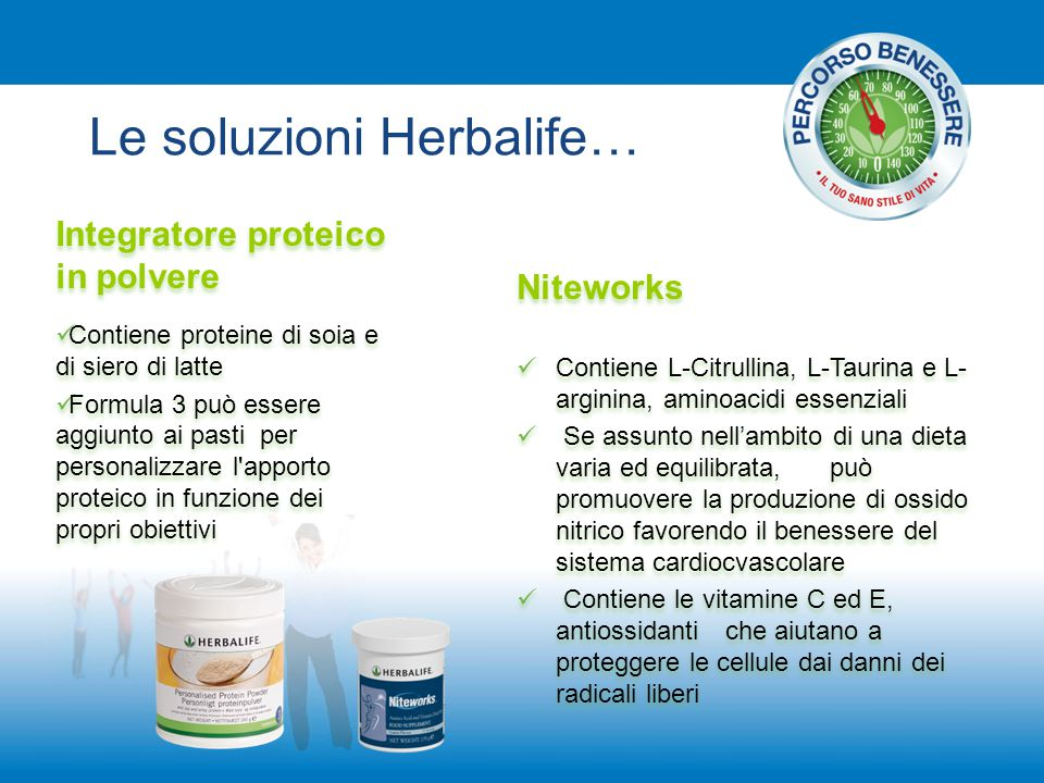 Le soluzioni Herbalife… Integratore proteico in polvere Contiene proteine di soia e di siero di latte Formula 3 può essere aggiunto ai pasti per perso