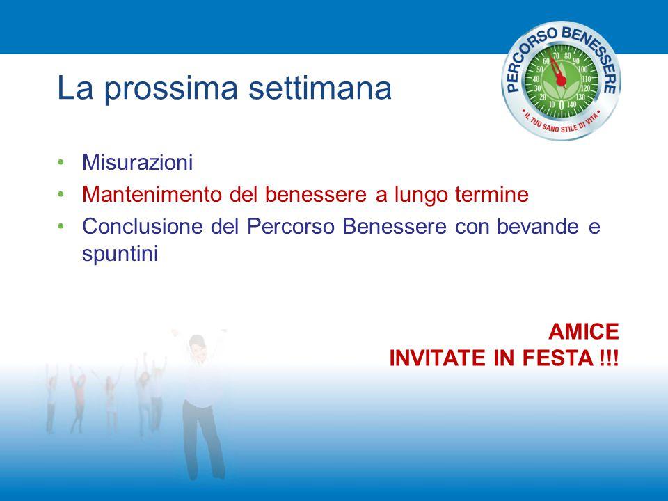 La prossima settimana Misurazioni Mantenimento del benessere a lungo termine Conclusione del Percorso Benessere con bevande e spuntini AMICE INVITATE