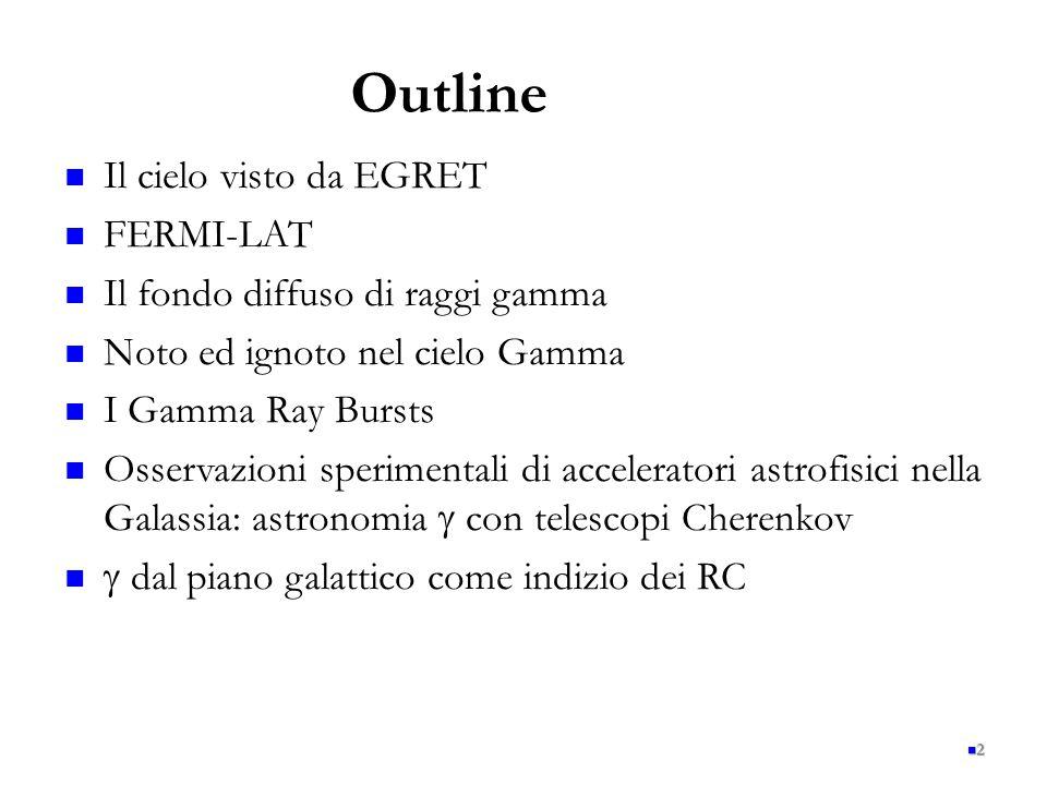 2 Il cielo visto da EGRET FERMI-LAT Il fondo diffuso di raggi gamma Noto ed ignoto nel cielo Gamma I Gamma Ray Bursts Osservazioni sperimentali di acc