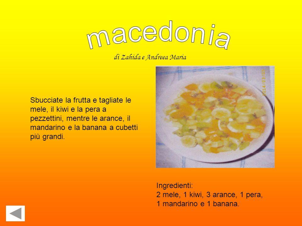 Ingredienti: 2 mele, 1 kiwi, 3 arance, 1 pera, 1 mandarino e 1 banana.