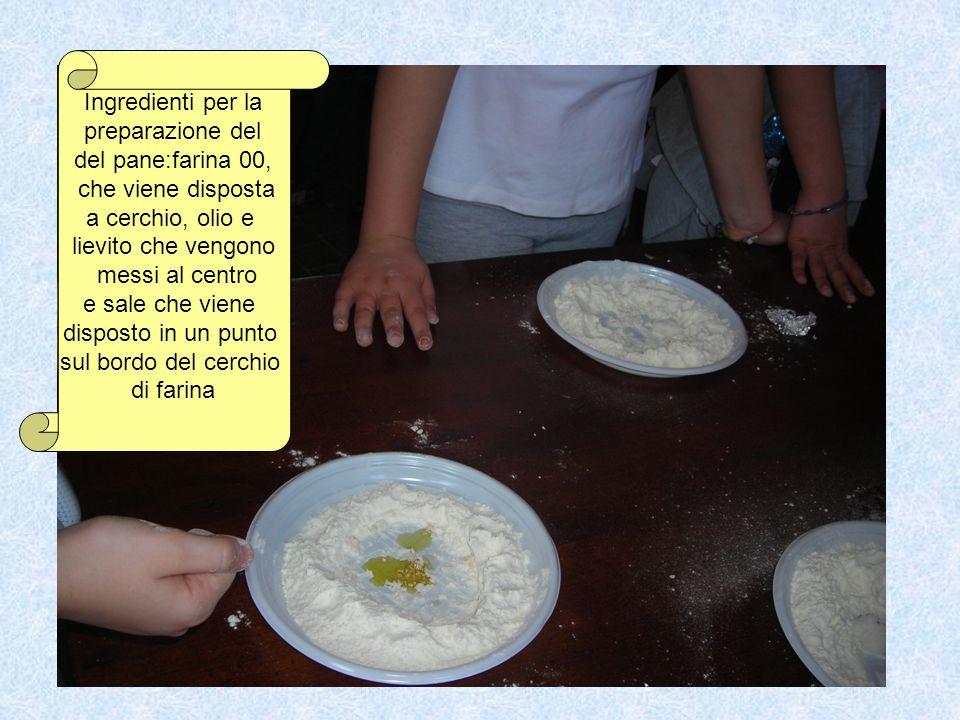 Ingredienti per la preparazione del del pane:farina 00, che viene disposta a cerchio, olio e lievito che vengono messi al centro e sale che viene disp