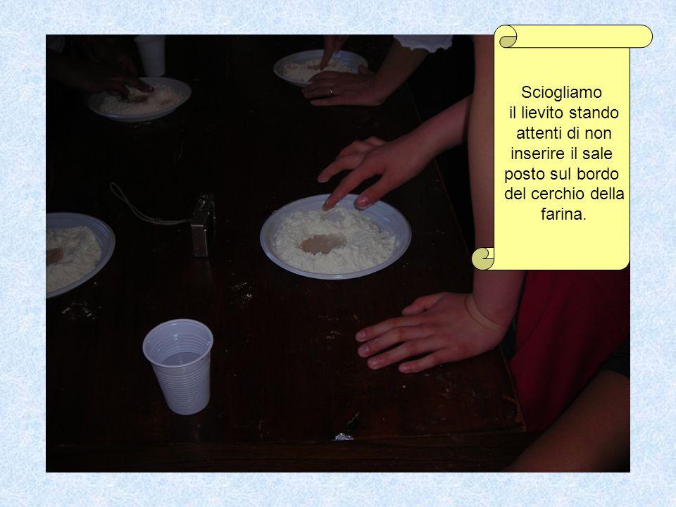 Sciogliamo il lievito stando attenti di non inserire il sale posto sul bordo del cerchio della farina.