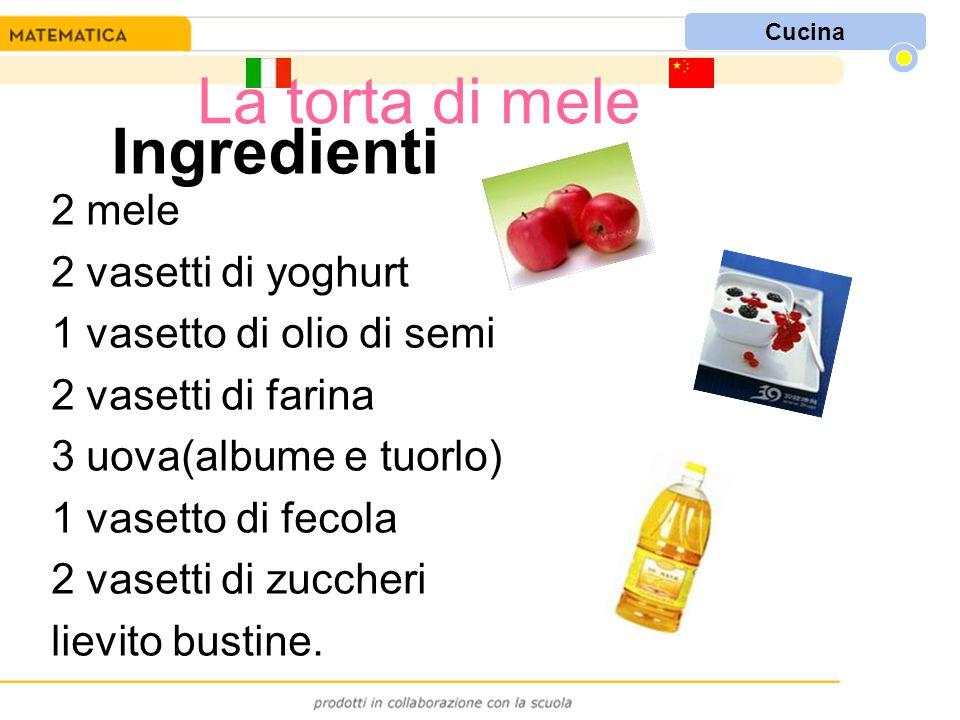 Ingredienti 2 mele 2 vasetti di yoghurt 1 vasetto di olio di semi 2 vasetti di farina 3 uova(albume e tuorlo) 1 vasetto di fecola 2 vasetti di zuccheri lievito bustine.