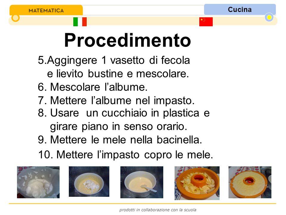 Cucina Procedimento 8. Usare un cucchiaio in plastica e girare piano in senso orario. 9. Mettere le mele nella bacinella. 10. Mettere l'impasto copro