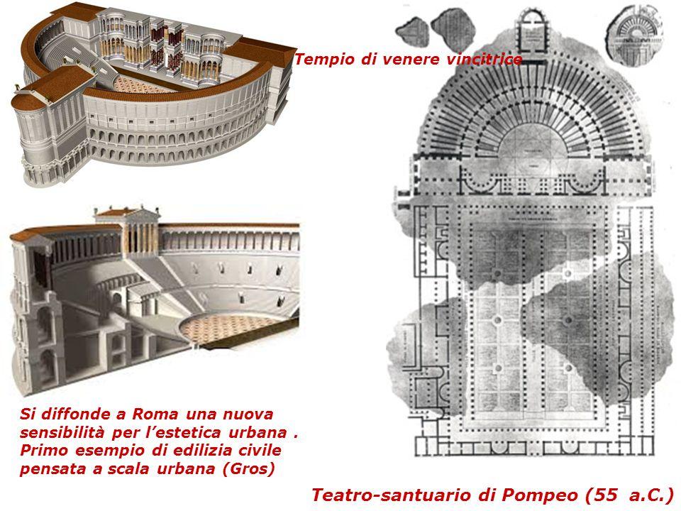 Teatro-santuario di Pompeo (55 a.C.) Si diffonde a Roma una nuova sensibilità per l'estetica urbana. Primo esempio di edilizia civile pensata a scala