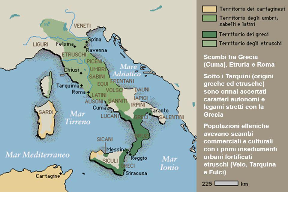 Scambi tra Grecia (Cuma), Etruria e Roma Sotto i Tarquini (origini greche ed etrusche) sono ormai accertati caratteri autonomi e legami stretti con la
