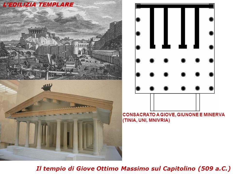 Il tempio di Giove Ottimo Massimo sul Capitolino (509 a.C.) CONSACRATO A GIOVE, GIUNONE E MINERVA (TINIA, UNI, MNIVRIA) L'EDILIZIA TEMPLARE