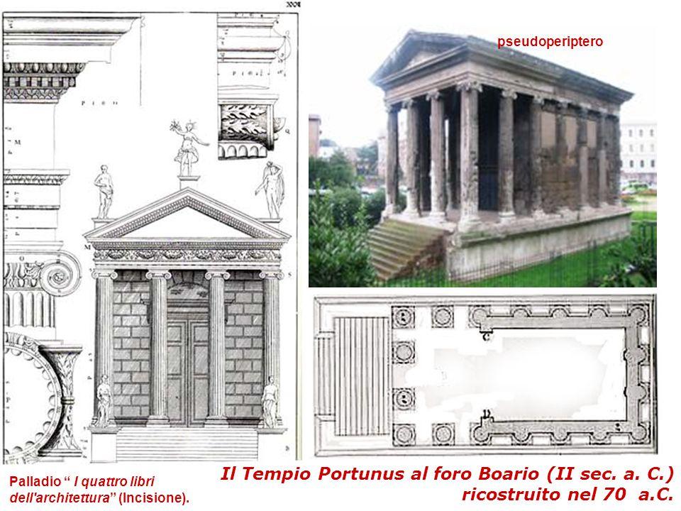 """Il Tempio Portunus al foro Boario (II sec. a. C.) ricostruito nel 70 a.C. Palladio """" I quattro libri dell'architettura"""" (Incisione). pseudoperiptero"""