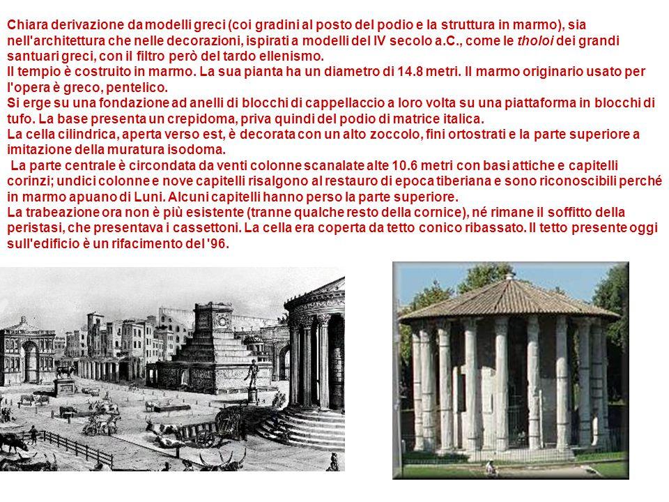 Chiara derivazione da modelli greci (coi gradini al posto del podio e la struttura in marmo), sia nell'architettura che nelle decorazioni, ispirati a