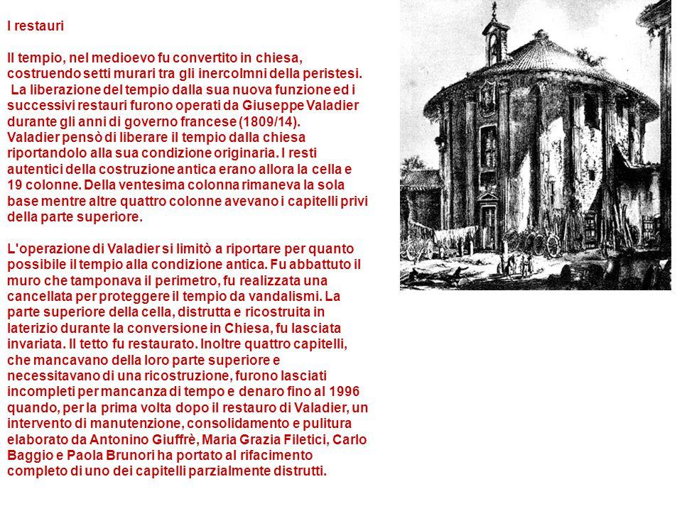 I restauri Il tempio, nel medioevo fu convertito in chiesa, costruendo setti murari tra gli inercolmni della peristesi. La liberazione del tempio dall