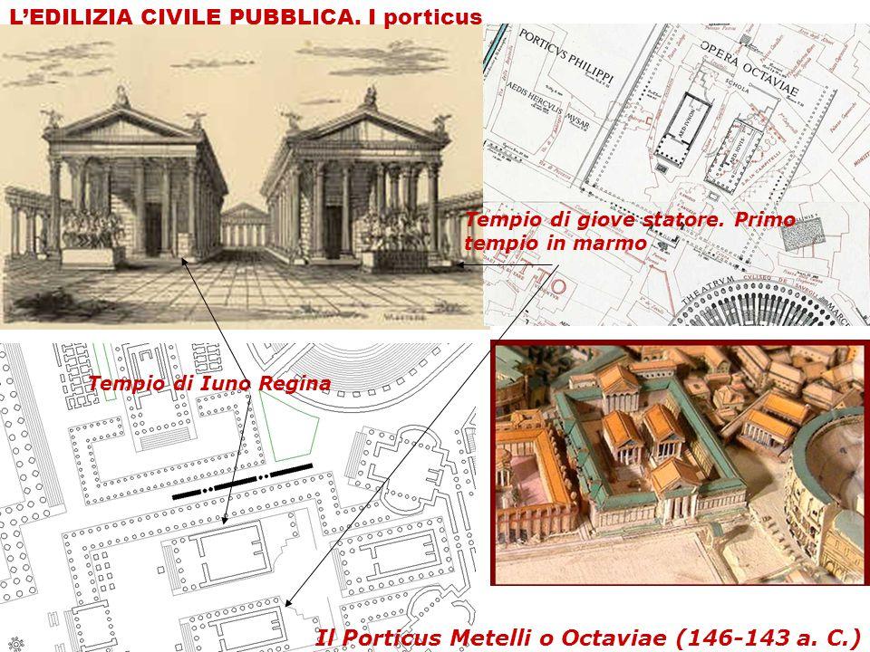 Il Porticus Metelli o Octaviae (146-143 a. C.) Tempio di giove statore. Primo tempio in marmo L'EDILIZIA CIVILE PUBBLICA. I porticus Tempio di Iuno Re