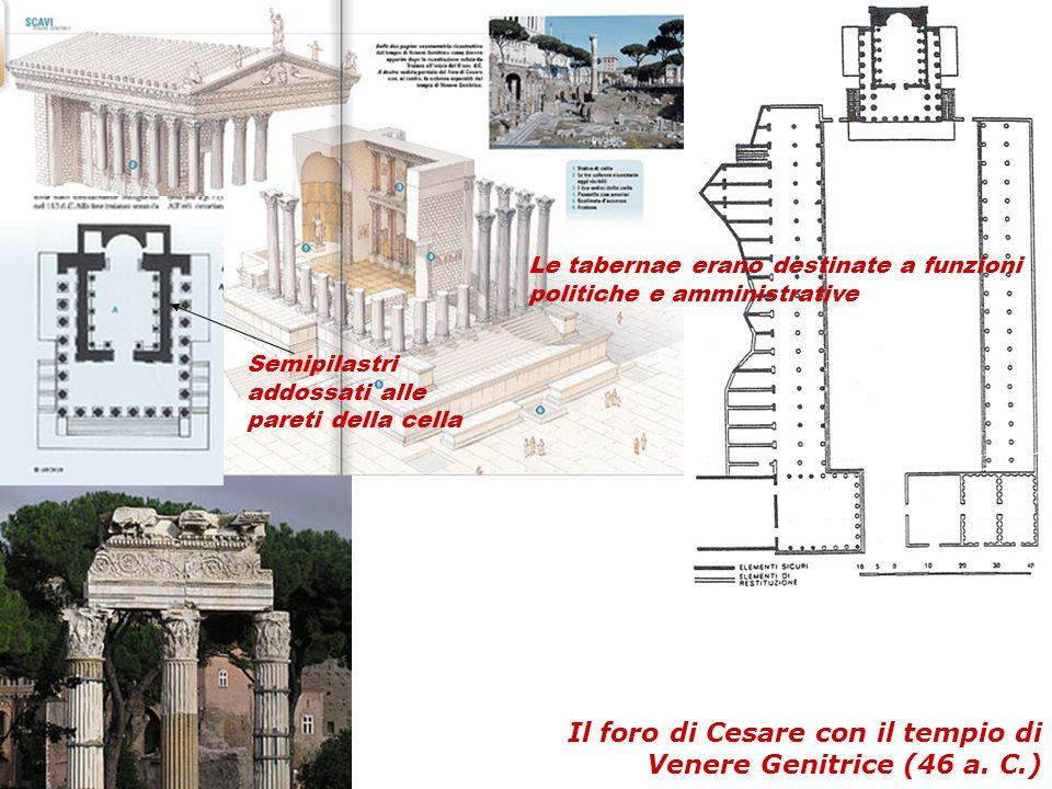 Il foro di Cesare con il tempio di Venere Genitrice (46 a. C.) Le tabernae erano destinate a funzioni politiche e amministrative Semipilastri addossat